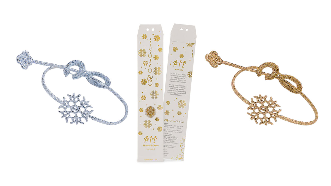 Cruciani C and AIL presents the new charity bracelet called Snow Flake